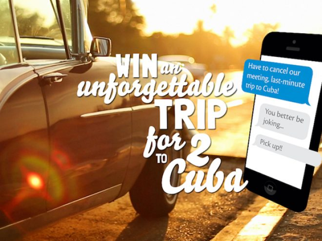 Prank to win a Euro 5,000 Euro holiday to Cuba