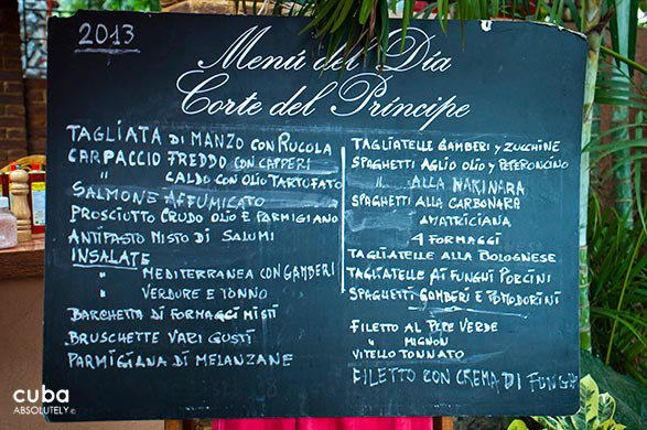 Menu at Corte del principe restaurant © Cuba Absolutely, 2014