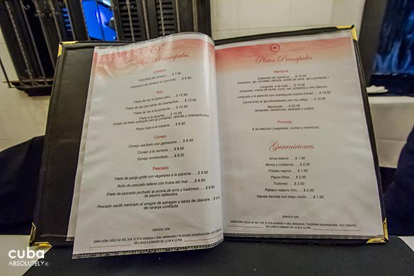 Menu at Restaurant Calle diez in Miramar© Cuba Absolutely, 2014