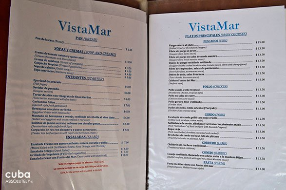 menu at Vistamar restaurant in mIramar© Cuba Absolutely, 2014