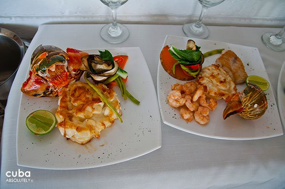 dishes with shrimps at restaurant Vistamar in Miramar© Cuba Absolutely, 2014