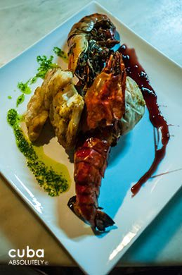 Lobster dish at La fontana restaurant in Miramar© Cuba Absolutely, 2014