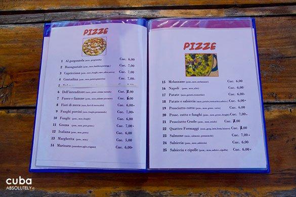 menu of La Terraza romana restaurant © Cuba Absolutely, 2014