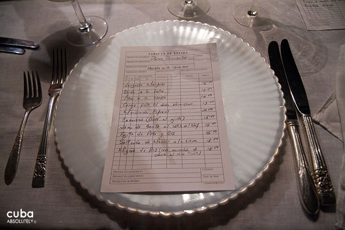 menu on a dish in Chansonier restaurant in Vedado © Cuba Absolutely, 2014
