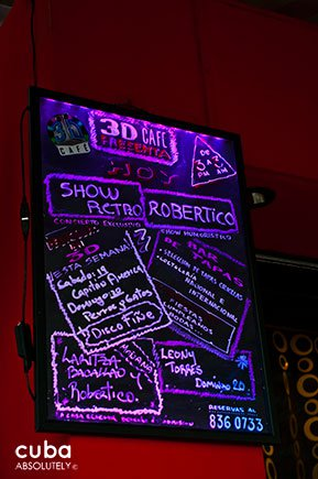menu on a board in 3d club in Vedado© Cuba Absolutely, 2014