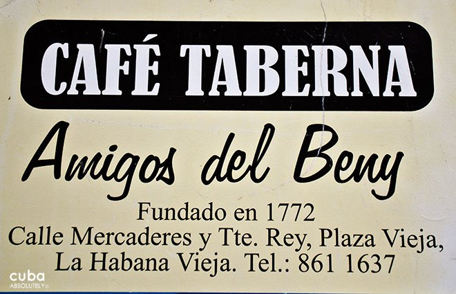 sign of Cafe taberna, restaurant in old havana© Cuba Absolutely, 2014