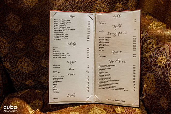menu at bar bohemio in Vedado© Cuba Absolutely, 2014