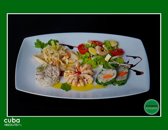 dish of seafood bights at Starbien restaurant in Vedado© Cuba Absolutely, 2014