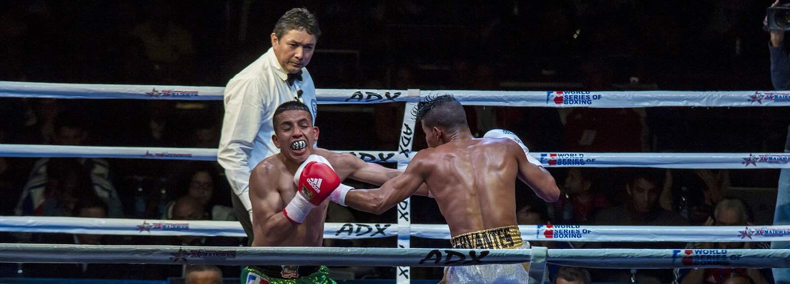Boxing in Ciudad deportiva, cuban boxer punching in the face to a mexican