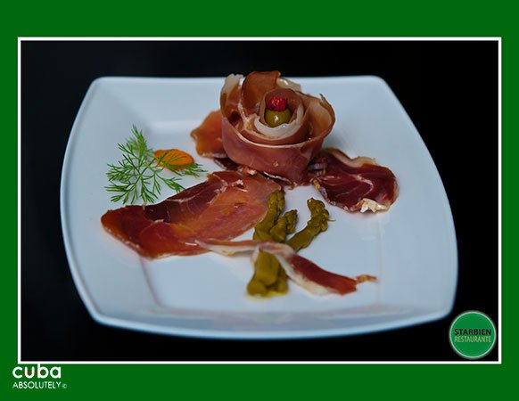 dish ofSerrano ham at Starbien restaurant in Vedado© Cuba Absolutely, 2014