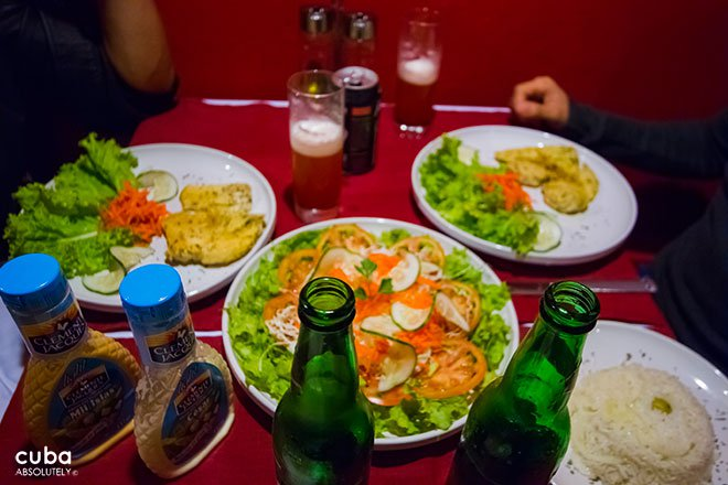 Food at La boca del lobo restaurant in Vedado© Cuba Absolutely, 2014