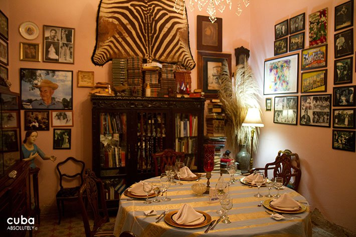 San Cristobal restaurant in old Havana, circle table with a tiger leather behind  © Cuba Absolutely, 2014