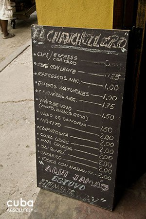 Menu at Chanchullero restaurant in Old Havana© Cuba Absolutely, 2014