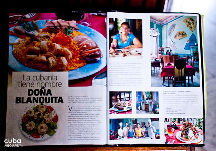Menu of Doña Blanquita restaurant in Old Havana © Cuba Absolutely, 2014