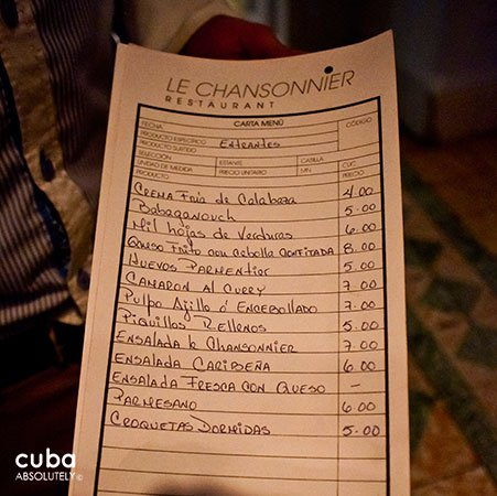 Le Chansonnier restaurant in Vedado, menu © Cuba Absolutely, 2014