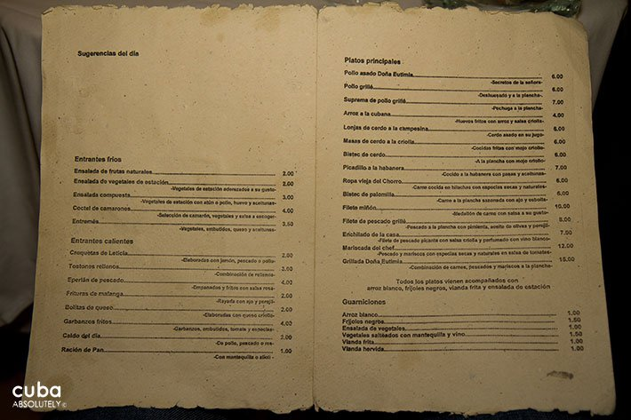 Menu at a restaurant © Cuba Absolutely, 2014