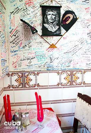 Bellomar restaurant in Old Havana, with all the walls writing © Cuba Absolutely, 2014