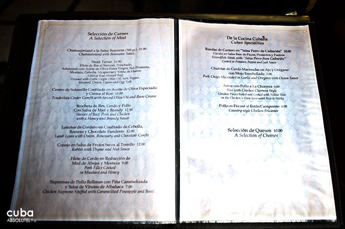 Cafe La Habana Menu