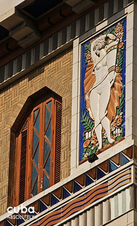 mural of art deco style building Bacardi in old havana© Cuba Absolutely, 2014