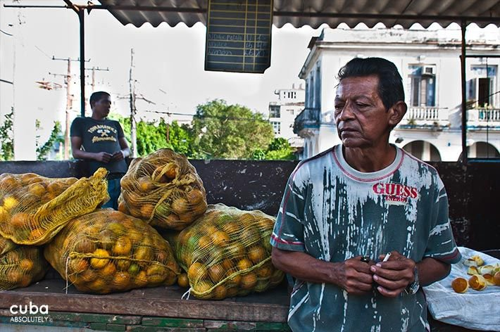 Market on 19 y B in Vedado, man next to yellow sacks of oranges © Cuba Absolutely, 2014 - 2020