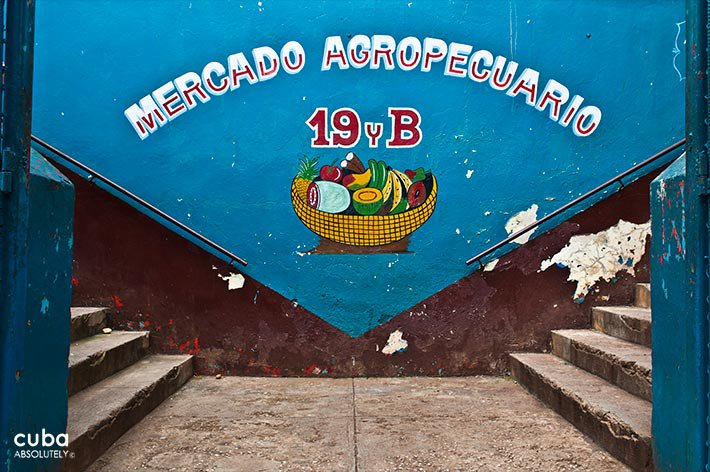 Market on 19 y B in Vedado, entrance in blue © Cuba Absolutely, 2014 - 2020