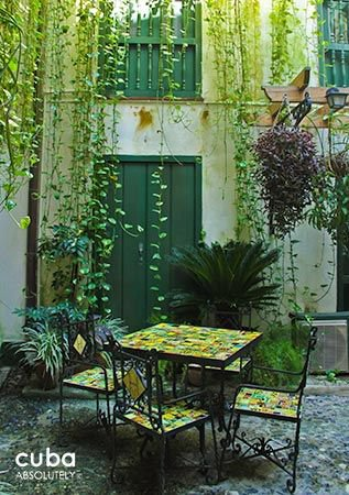 Valencia Hotel in Old Havana, iron chairs with green details under plants  © Cuba Absolutely, 2014 - 2020