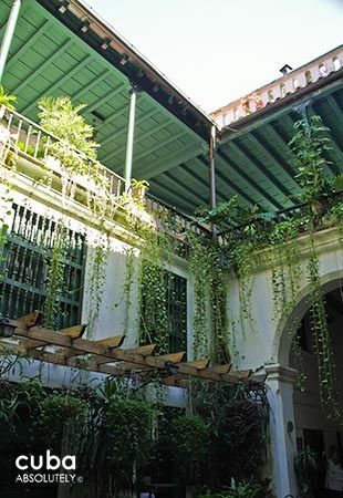 Valencia Hotel in Old Havana, interior yard with hanging plants © Cuba Absolutely, 2014 - 2020