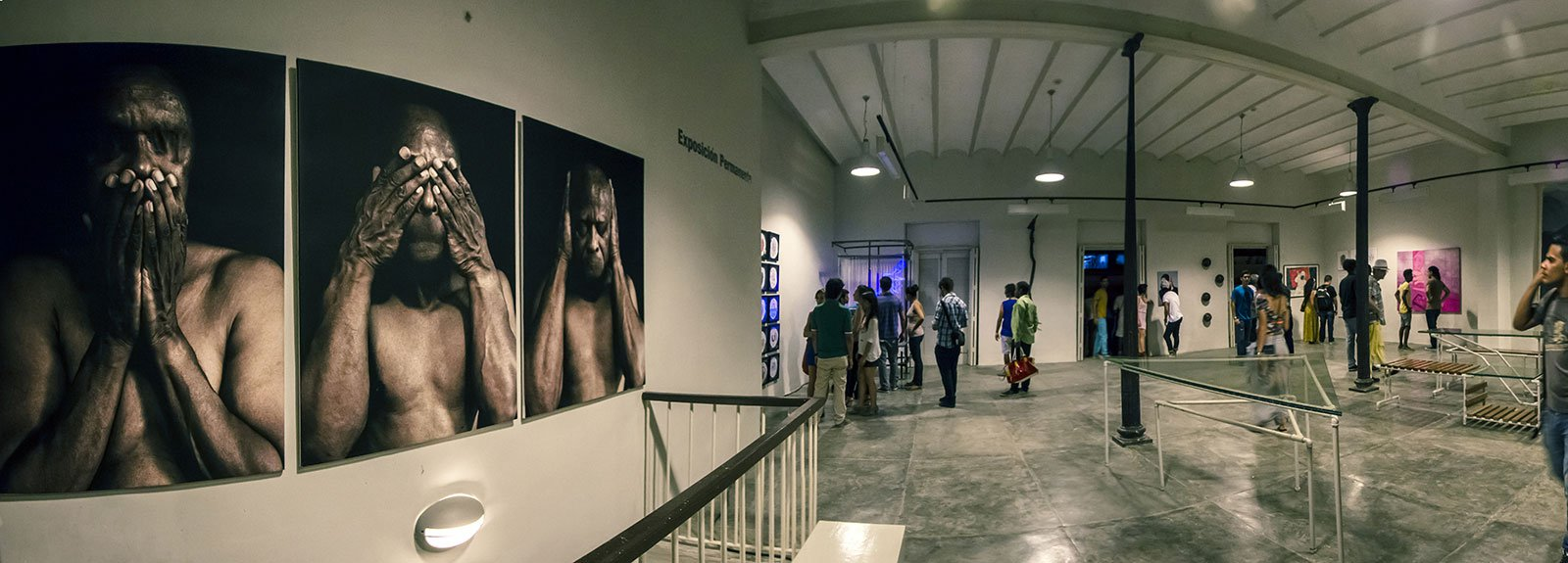 3  pictures of a man on the left and the gallery with other pieces and people on the right