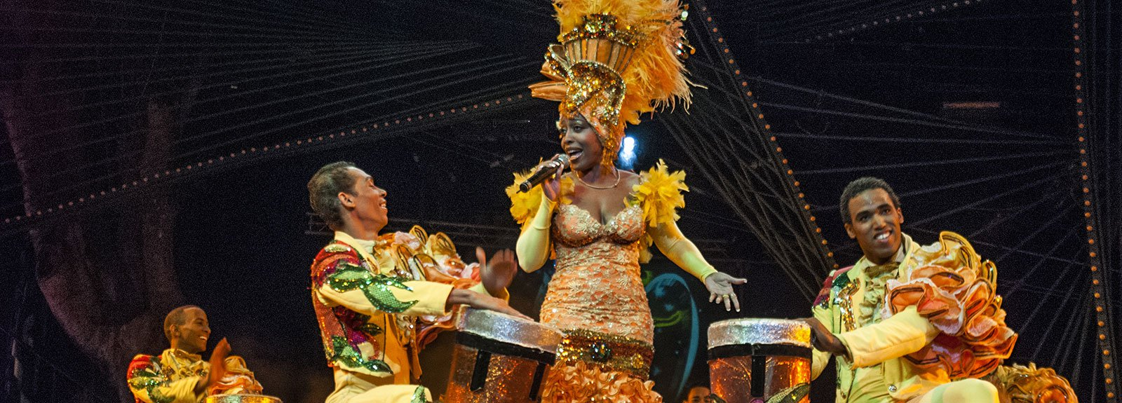 Dancers with costumes performing at Tropicana