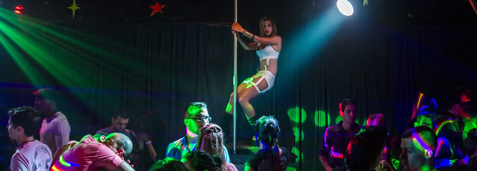 Stair to heaven night club, dancer performing dress in white