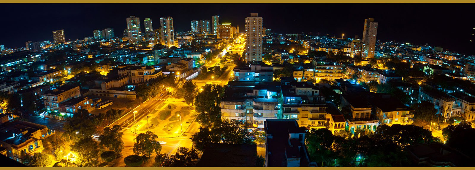 General view of Vedado at night