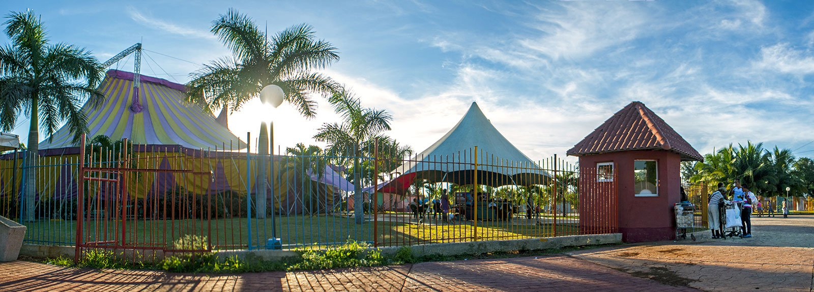 View of the yellow and violet place of the circus