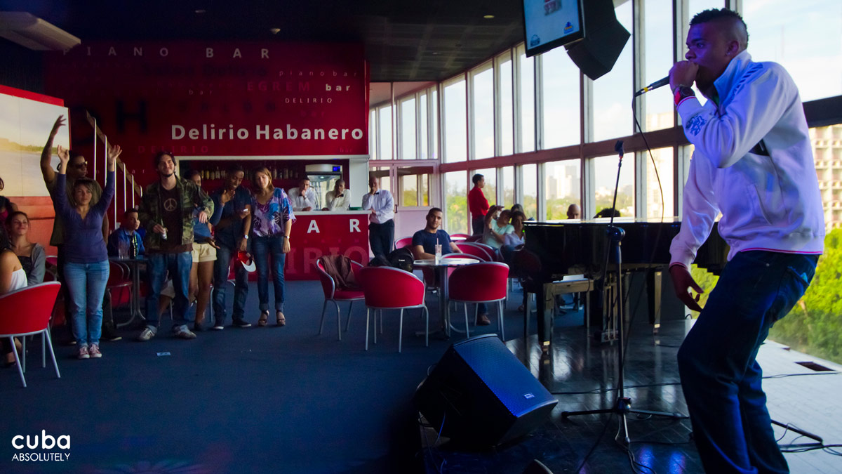 Cuban rap has a new spot every Friday at 5 pm at the Delirio Habanero club located in the Teatro Nacional. Havana, Cuba