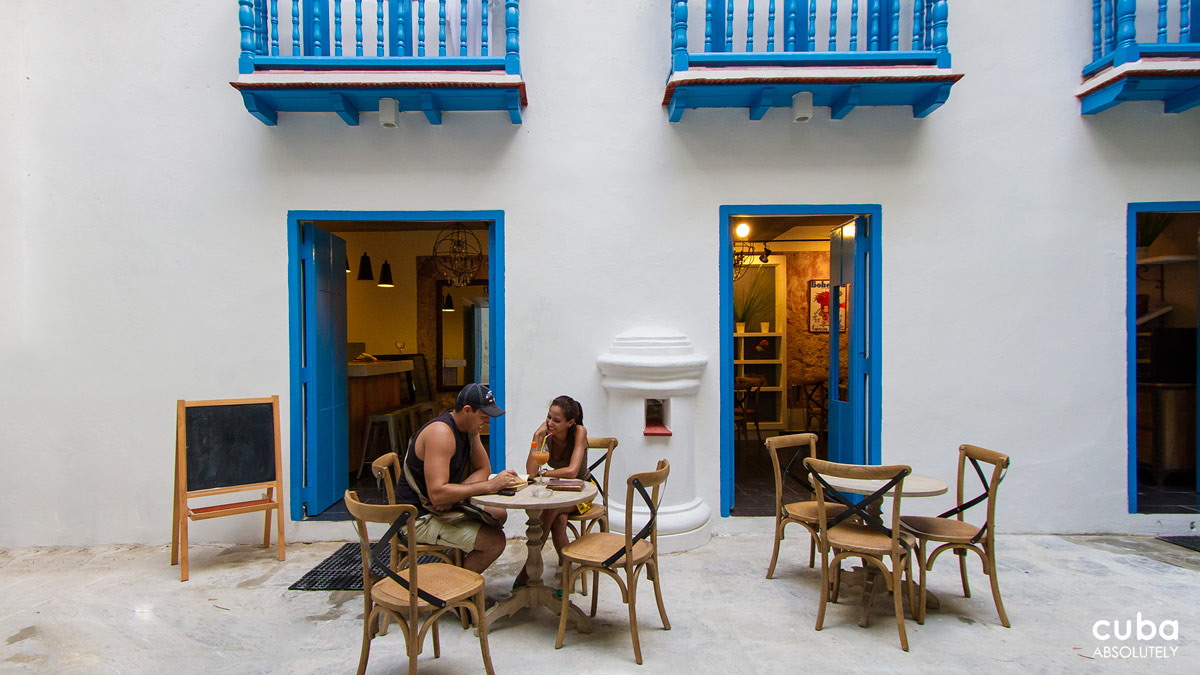 Thanks to its location in the cool inner courtyard of the colonial building, Café Bohemia is perfect for taking a break from long walks and seeking shelter from the stifling Cuban heat as you explore the Havana's Historical Center. Havana, Cuba