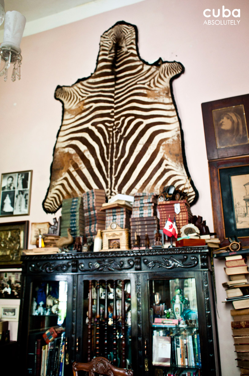 A zebra-skin, piles of leather-bound books, chandeliers, lace table-covers, antique furniture and framed vintage photos all led me back in time to a pre-revolutionary era of bourgeois comforts. Havana, Cuba