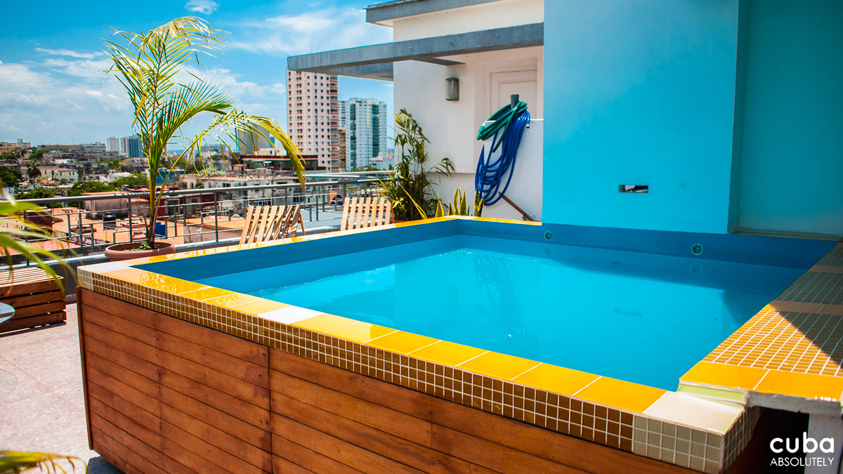 Once you rent three rooms you get the place to yourself, including a beautiful living room, outdoor terrace with tasteful glass table and chairs and even a small pool. Havana, Cuba
