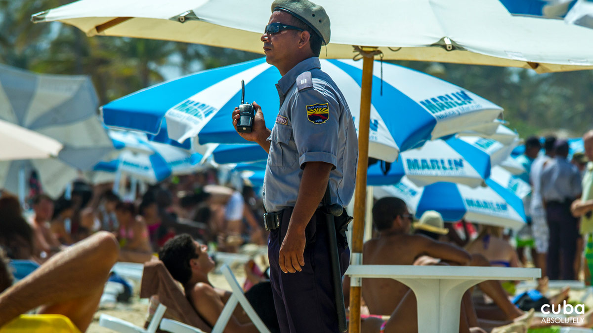 Law enforcement--with so many people drinking alcohol, it's good to have them close by. Havana, Cuba