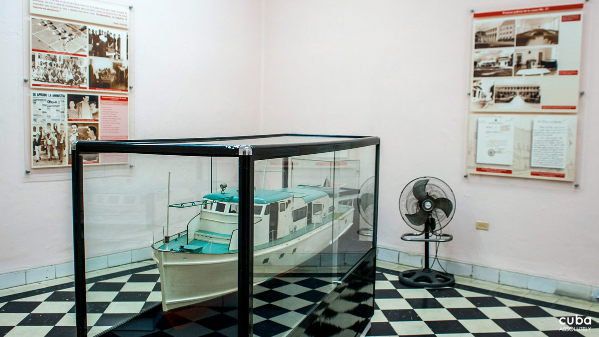 A scale model of the Granma Yatch, which brought the group of men, led by Fidel, that would begin the Revolution. Santiago de Cuba, Cuba
