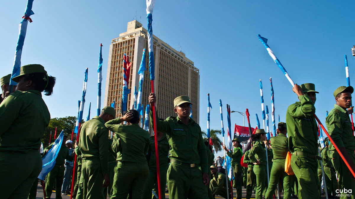 Young Cuban army members too join the demonstration. Havana, Cuba
