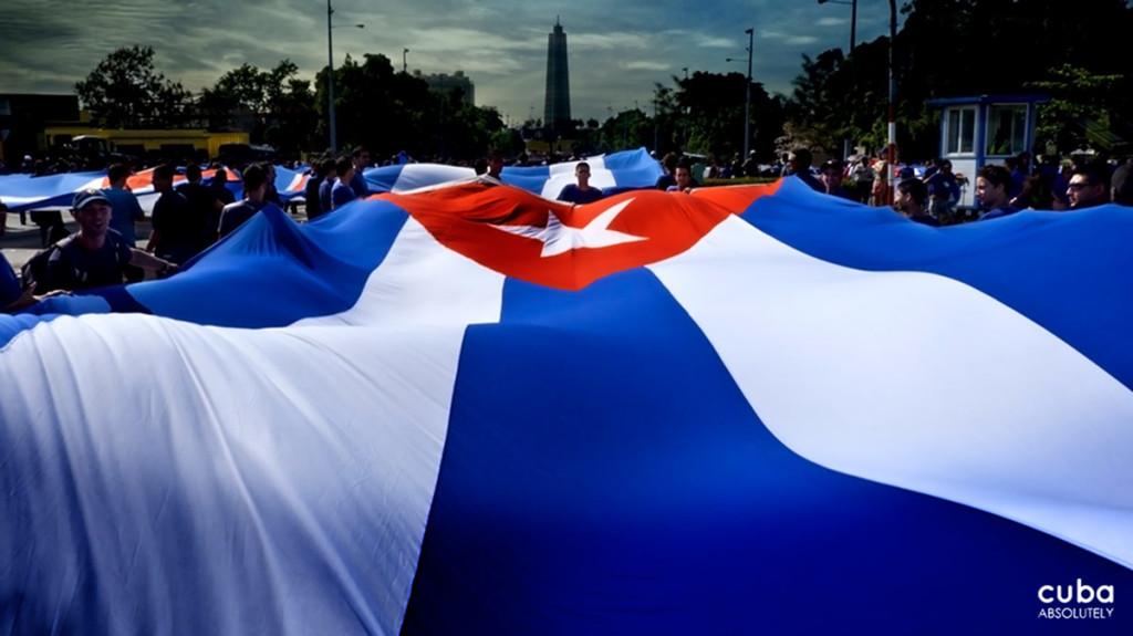 The Cuban flag is always a guest of honor during the Workers' Day celebration. Havana, Cuba